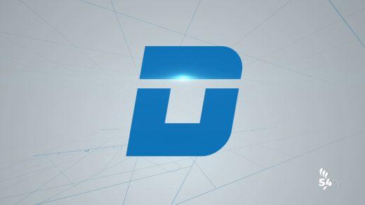 Cabecera información deportiva de Canal 54. De color azulada, con un D en medio. 14 agosto