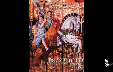Cartel de feria Pozoblanco 2019. Se ve a unos niños en un tiovivo